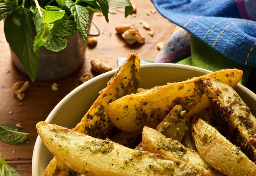 Batatas Mega Rústicas com Pesto